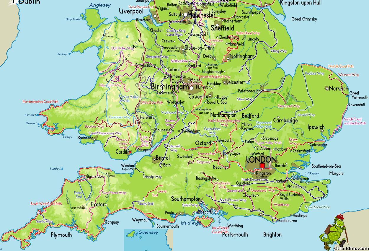 Kort I Syd England Kort Over Det Sydlige England I Det Nordlige