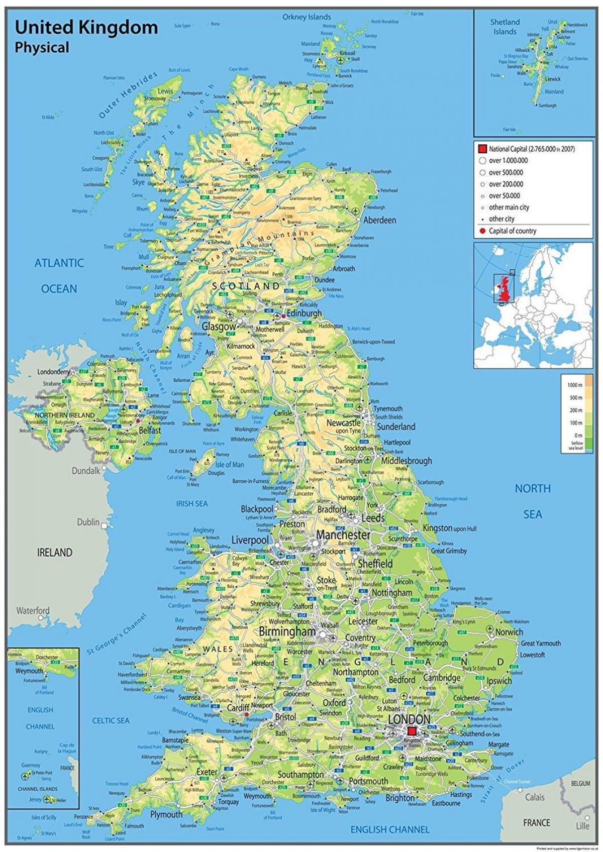 Britiske Kyst Kort Lang Kort Over Storbritannien Til At Udskrive