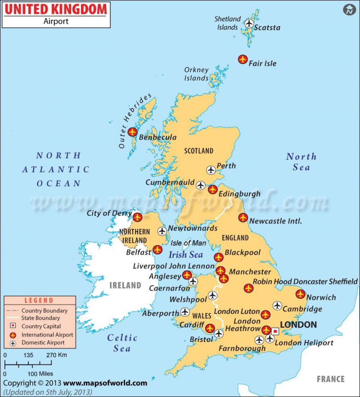 Det Forenede Kongerige Lufthavn Kort Storbritannien Lufthavn