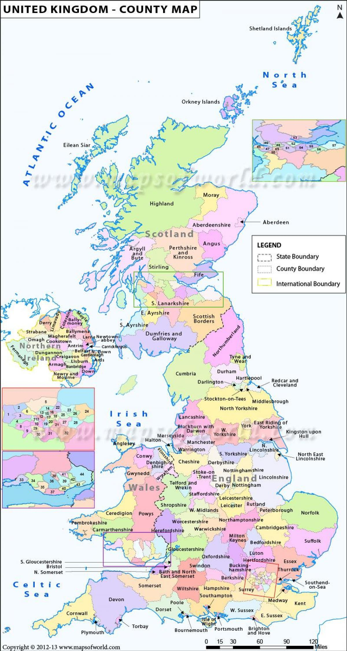 Kort Over Storbritannien Amter Og Byer Kort Over Storbritannien