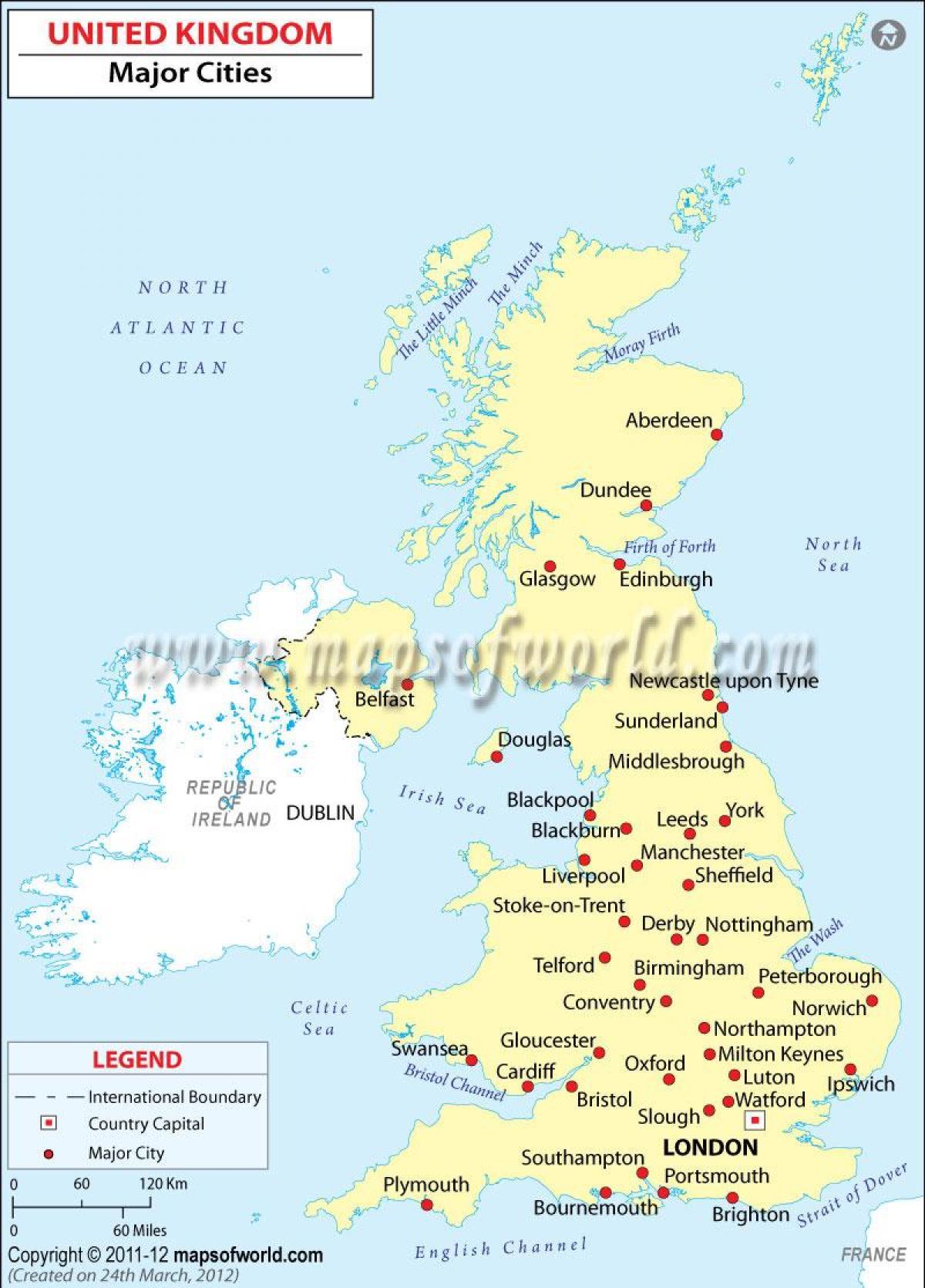 Kort Over Storbritannien Med Storre Byer Kort I Uk Der Viser