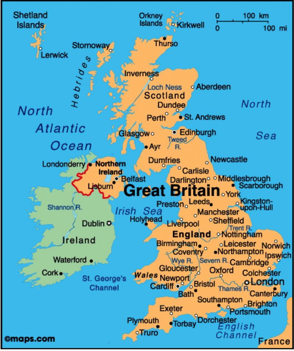 Kort Over Storbritannien Vis Mig Et Kort Over Det Forenede