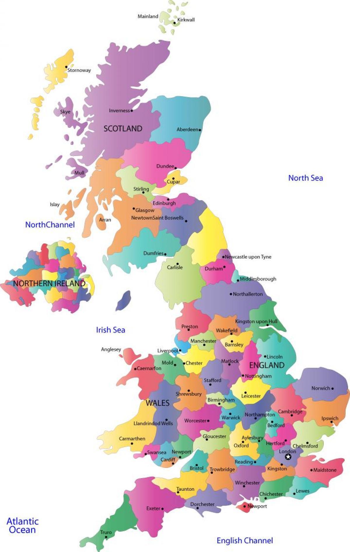 Kort Uk Amter Byer Kort Over Storbritannien Med Amter Og Byer I