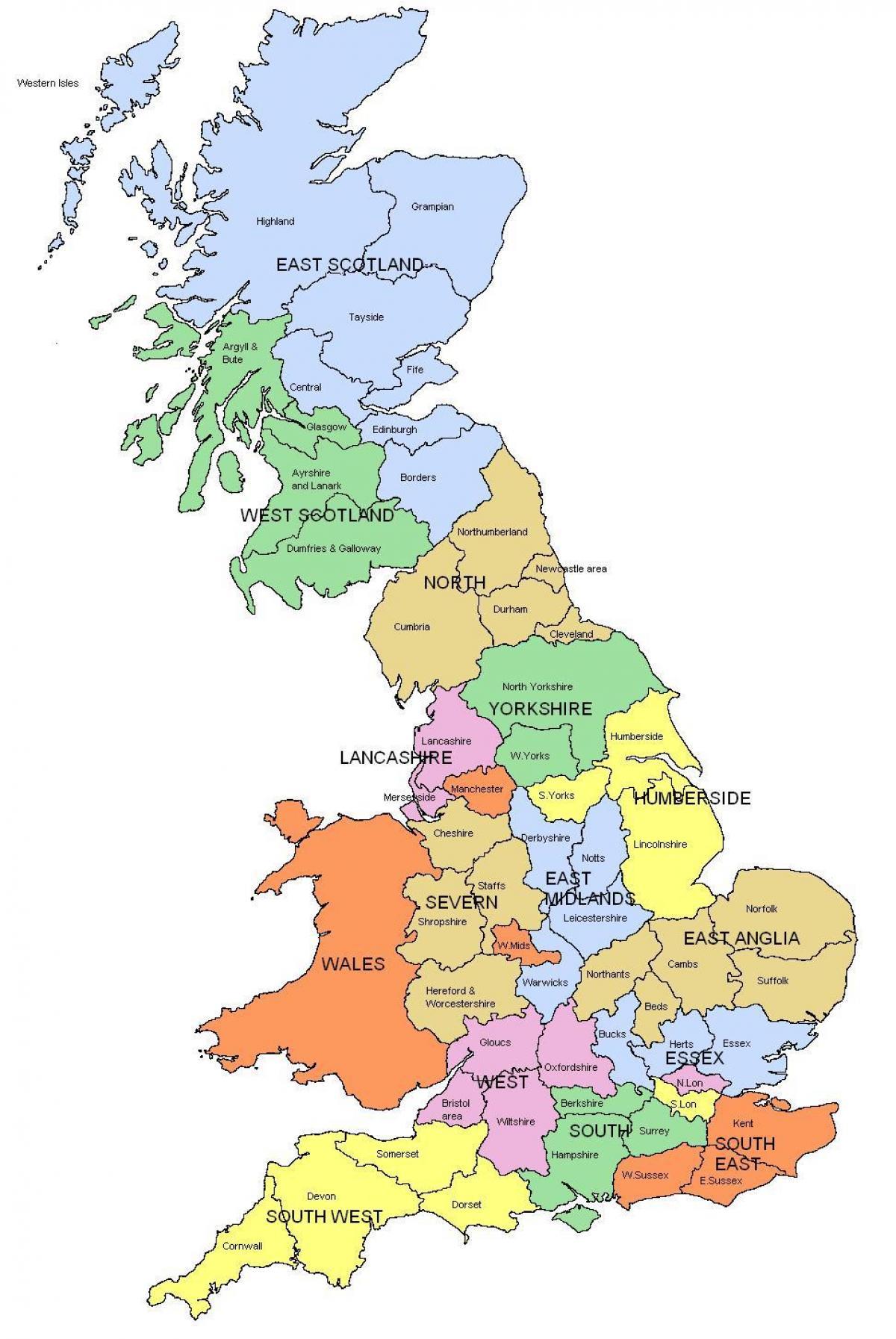 Kort Uk Amter Regioner Uk Kort Regioner Og Amter I Det Nordlige