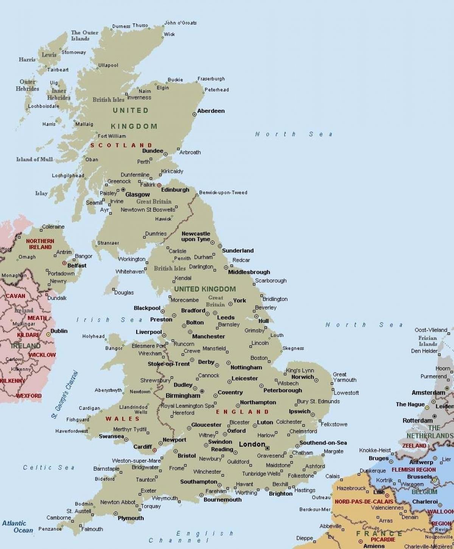 Uk Kort Med Byer Kort Over Storbritannien Med Byer I Det