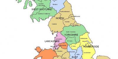 Nord Uk Kort Kort Over Storbritannien Nord I Det Nordlige Europa